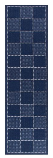 Checked Flatweave Blue Runner by Oriental Weavers
