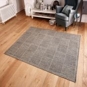 Checked Grey Kitchen Rug with Antislip Gel Backing
