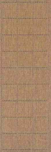 Checked Natural Kitchen Runner with Antislip Gel Backing