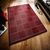 Checked Red Kitchen Rug with Antislip Gel Backing
