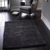 Chicago New Grey Polyester Plain Rug by Origins