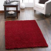 Chicago Red Polyester Plain Rug by Origins