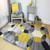 Cocktail Cosmo Grey Ochre Geometric Modern Rug by Flair Rugs