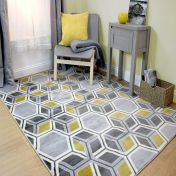 Cocktail Mimosa Grey Ochre Geometric Modern Rug by Flair Rugs