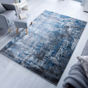 Cocktail Wonderlust Blue Grey Abstract Rug by Flair Rugs