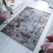 Cocktail Wonderlust Grey Pink Abstract Rug by Flair Rugs