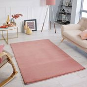 Comfy Pink Plain Shaggy Rug by Oriental Weavers