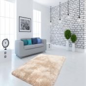Cosy 210 Champagne Plain Shaggy Rug by Unique Rugs