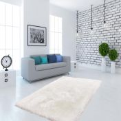 Cosy 310 White Plain Shaggy Rug by Unique Rugs