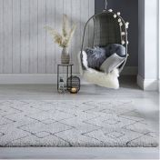 Dakari Imari Cream Dark Grey Modern Shaggy Rug by Flair Rugs
