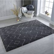 Dakari Imari Grey White Modern Shaggy Rug by Flair Rugs