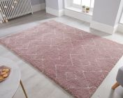 Dakari Imari Pink Cream Modern Shaggy Rug by Flair Rugs