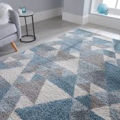 Dakari Nuru Blue Cream Modern Shaggy Rug by Flair Rugs