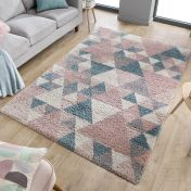 Dakari Nuru Blush Pink Cream Blue Shaggy Rug by Flair Rugs