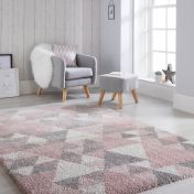 Dakari Nuru Pink Cream Grey Modern Shaggy Rug by Flair Rugs