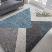 Dakari Zula Multi Blue Modern Shaggy Rug by Flair Rugs