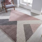 Dakari Zula Multi Pink Modern Shaggy Rug by Flair Rugs