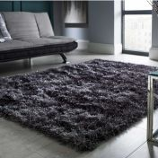 Dazzle Charcoal Plain Shaggy Sparkle Rug by Flair Rugs