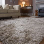 Dazzle Natural Plain Shaggy Sparkle Rug by Flair Rugs