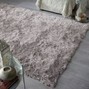 Dazzle Silver Plain Shaggy Sparkle Rug by Flair Rugs