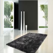 Diamond 700 Anthracite Plain Shaggy Circle Rug by Unique Rugs