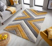 Dune Crater Grey Ochre Geometric Rug by Flair Rugs
