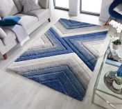 Dune Crater Natural Blue Geometric Rug by Flair Rugs