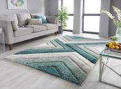 Dune Crater Natural Green Geometric Rug by Flair Rugs