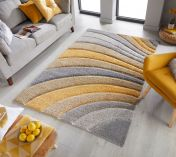 Dune Tidal Grey Ochre Geometric Rug by Flair Rugs