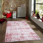 Easy Care Abstract Grey Burgundy Rug by Unique Rugs