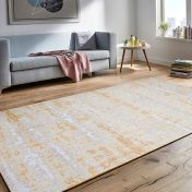 Easy Care Abstract Grey Ochre Rug by Unique Rugs