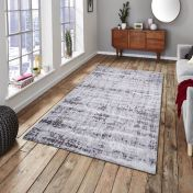 Easy Care Abstract Grey Rug by Unique Rugs