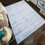 Easy Care Abstract Light Blue Rug by Unique Rugs