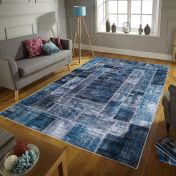 Easy Care Montage Blue Rug by Unique Rugs