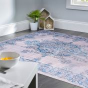 Easy Care Sonja Natural Blue Rug by Unique Rugs