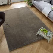 Echo Revel Taupe Plain Rug by Flair Rugs