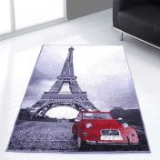 Themed Poly Eiffel Tower Grey Graphics Modern Rug by Rug Style