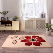 Elite Red Floral Wool Rug By Ultimate Rug