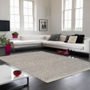 Enzo Light Grey Textured Plain Rug By Asiatic