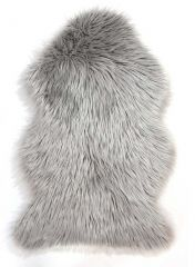 Faux Fur Sheepskin Grey Plain Shaggy Rug By Flair Rug