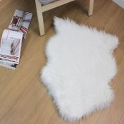 Faux Fur Sheepskin Ivory Plain Shaggy Rug By Flair Rug