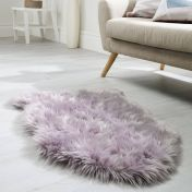 Faux Fur Sheepskin Mauve Plain Shaggy Rug by Flair Rug
