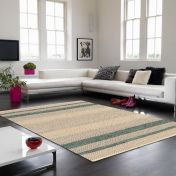 Fields Emerald Striped Rug By Asiatic