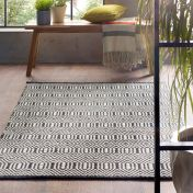Flatweave Geo Black Cream Wool Rug by Origins