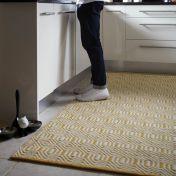 Flatweave Geo Ochre Cream Wool Rug by Origins