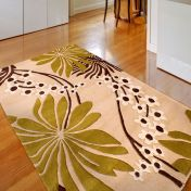 Floral Art Ohelo New Green Wool Rug by Ultimate Rug