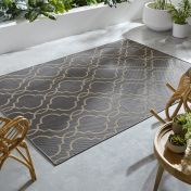 Florence Alfresco Milan Anthracite Beige Geometric Rug by Flair Rugs