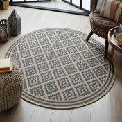Florence Alfresco Moretti Beige Anthracite Geometric Circle Rug by Flair Rugs