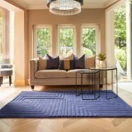 Linear Blue Geometric Wool Rug by Origins