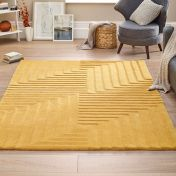 Linear Ochre Geometric Wool Rug by Origins